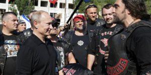 Vladimir Putin with the Night Wolves (including Alexander Zaldostanov), 2012; source: http://putin.kremlin.ru/