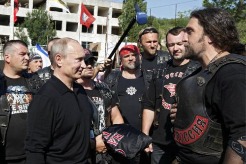 Vladimir Putin with the Night Wolves (including Alexander Zaldostanov), 2012; source: http://putin.kremlin.ru/