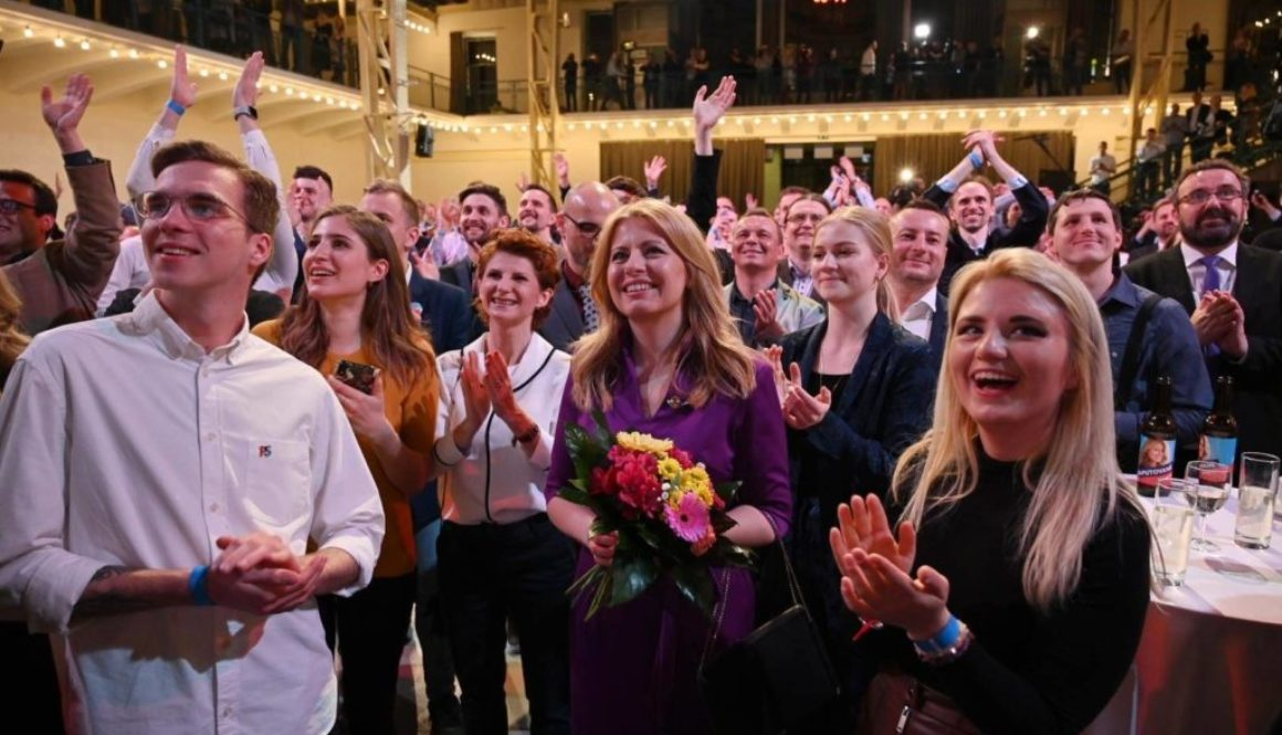 Zuzana Čaputová and her team finds out the exit polls, credit: Tomáš Halász