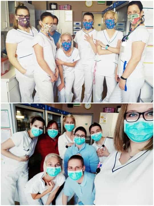 Health workers in home made masks