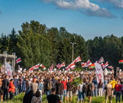 Rally in support of Sviatlana Tsikhanoŭskaya and the joint campaign headquarters. 30 July 2020, Minsk, Belarus