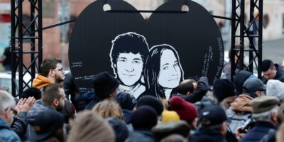 Demonstrators take part in a protest rally marking the second anniversary of the murder of the investigative reporter Jan Kuciak and his fiancee Martina Kusnirova, one week ahead of country's parliamentary election in Bratislava
