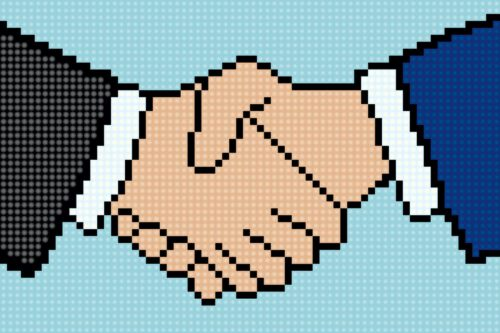 Business,Handshake,Icon,In,Pixel,Art