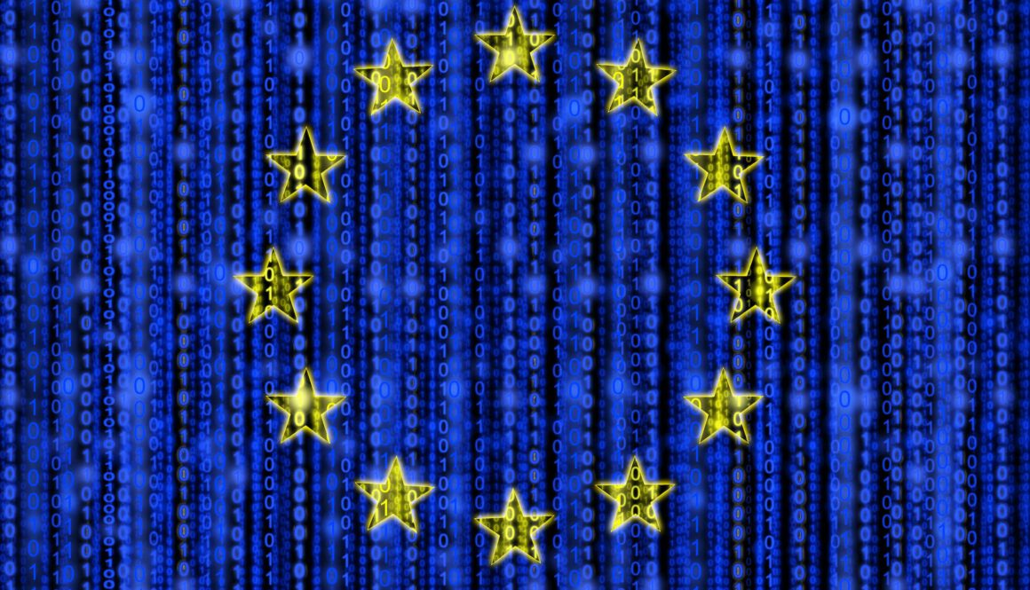 European,Flag,Texture,With,Digital,Zeros,And,Ones,Strains,Glowing