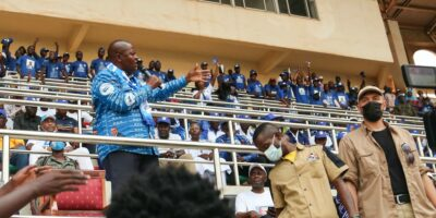 Central African Republic President Faustin Archange Touadera addresses supporters at a political rally in Bangui