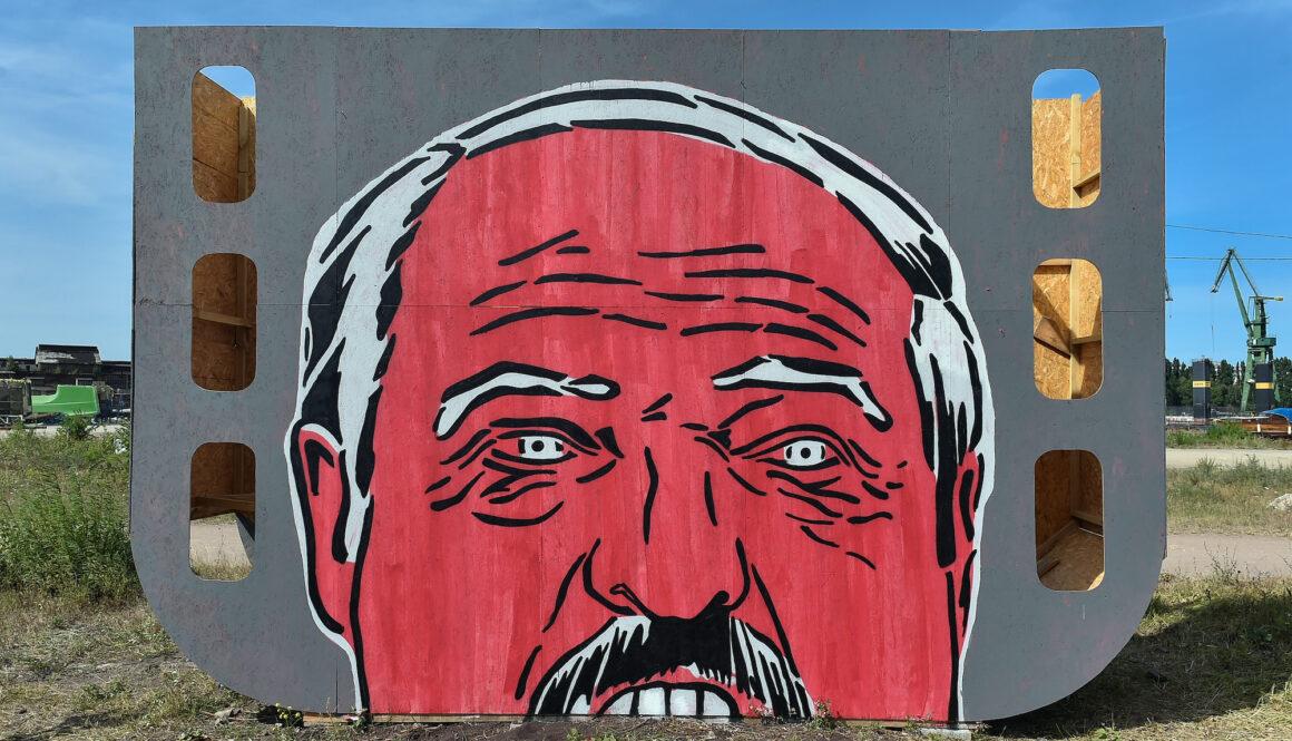 Alaksandr Lukaszenka na muralu w Gdansku
