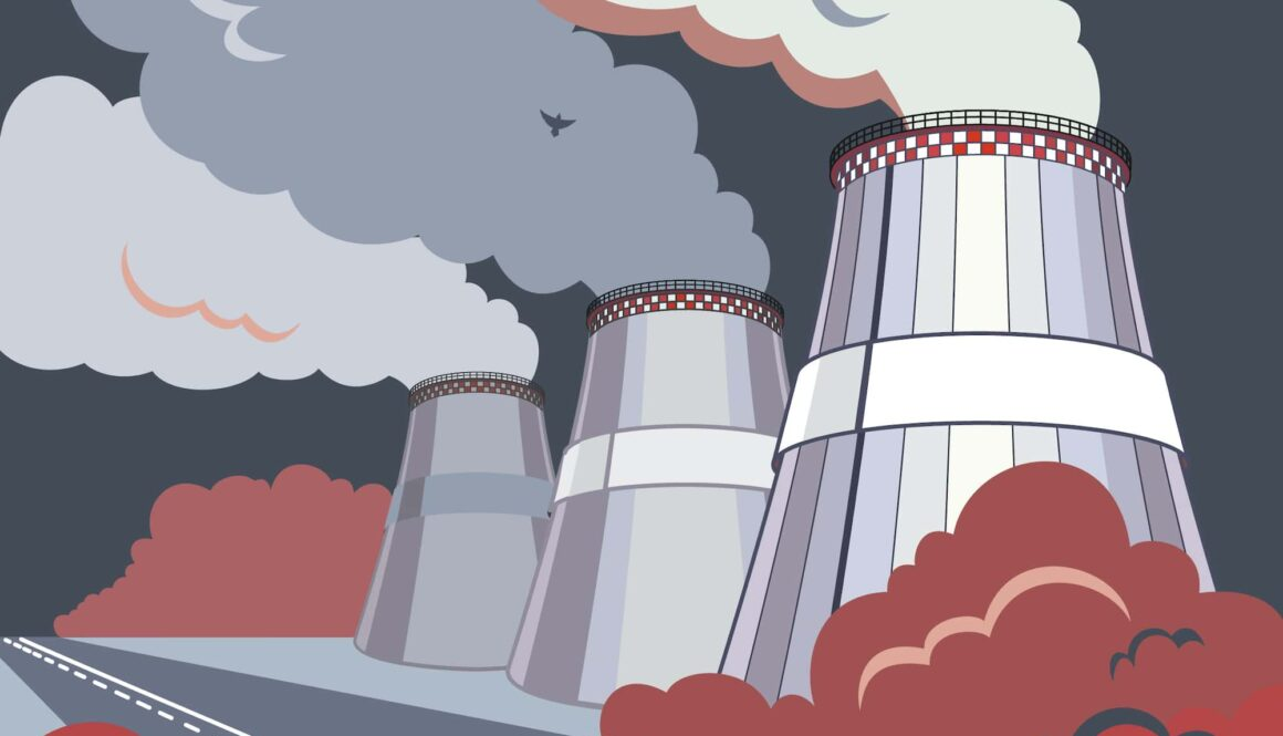 Emission,Pollutions,Factory.,Cooling,Towers,Vector,Industrial,Energy.,Co2,Greenhouse,